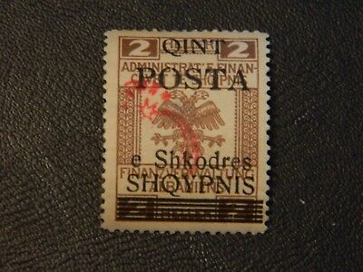Albania Stamp SG 89 Type 12 without date opt with type 14 in red LMM issued 1919