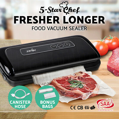 5-Star Chef Vacuum Food Sealer Machine Storage Packaging Saver w Bag Rolls Black