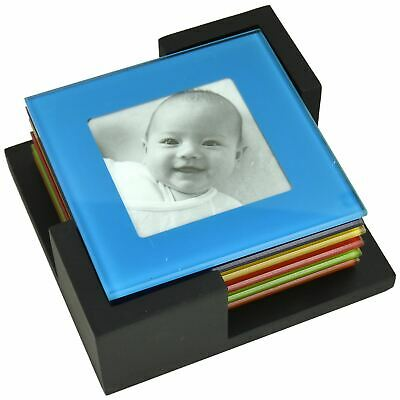 Set Of 6 Coloured Picture Frame Glass Photo Coasters Placemats Drinks Cup Mat