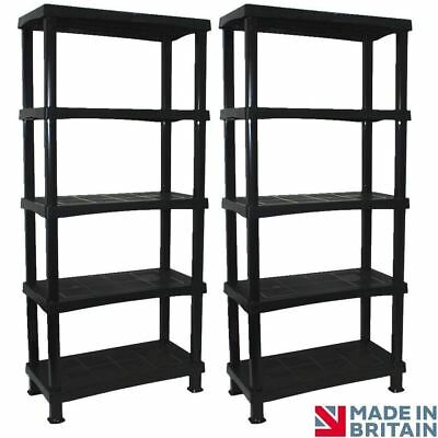 2 x Storage Shelving Shelves Unit 5 Tier Racking Home Living Room MADE IN UK