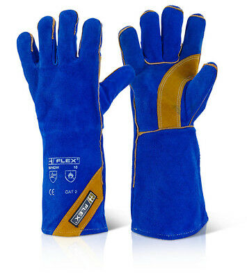 "10x Pairs 16"" CAT 2 Fully Lined Kevlar Sewn Welders Welding Gauntlet Gloves Blue"