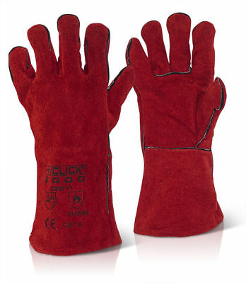 "60 x Pairs 14"" CAT 2 Fully Lined Red Welders Welding Gauntlet Gloves Work Safety"