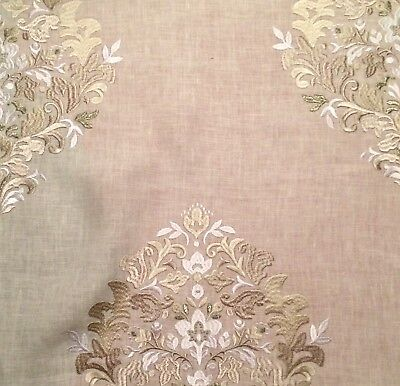 DESIGNERS GUILD Holyrood linen rayon metallic embroidery India new remnant