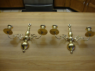 Pair Of Vintage Solid Brass Double Arm Wall Sconce Candle Holder