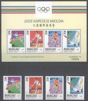 Macau 1992 Summer Olympics, Barcelona Spain S/s And Stamps Mnh Very Fine