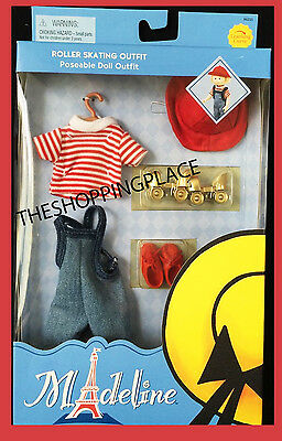 """New Madeline Doll Outfit 8"""" Roller Skating Red Shoes Hat Stripped Shirt GINNY"""