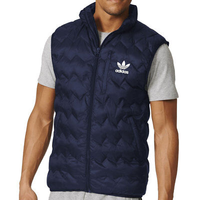 ADIDAS ORIGINALS MEN'S Serrated Gilet Light Padded Bodywarmer Vest Navy Blue