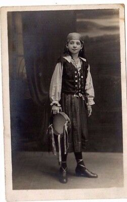 Young Girl In Costume With Tambourine - Sepia Real Photo - Early 20Th C