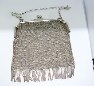 AMAZING HEAVY ART DECO SOLID SILVER CHAIN MAIL MESH PURSE FRINGED 1922 H/M 155g