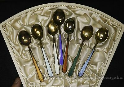 Finland Sterling Silver Vintage Enameled 4in Coffee Spoon Set of 6 + 1 in box