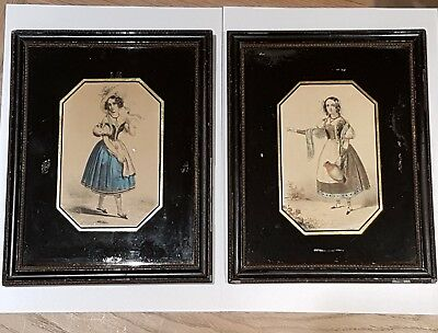 Antique pair verre eglomise picture frames currently c french 19c Fashion prints