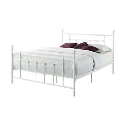 Metal Panel Bed with Round Finial Posts and Metal Slats White Queen Size