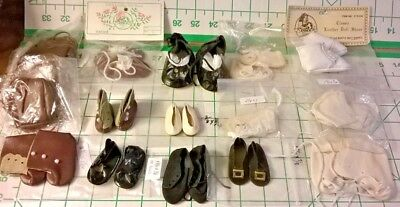 16 PAIR LOT VINTAGE DOLL SHOES NEW &w/WEAR & MINOR DAMAGE ASSORTED SIZES & STYLE