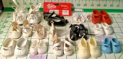 13 Pair Lot Vintage Doll Shoes Vinyl -Wear & Minor Damage Assorted Sizes & Style