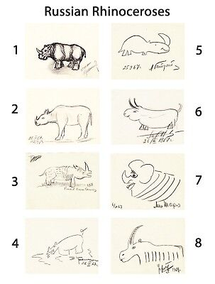 Cosmonaut ALEXEI LEONOV & 7 others: 8 signed drawings of a RHINOCEROS (1967)