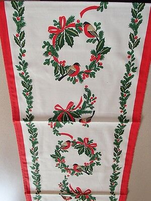 "Finnish Cotton Table Runner with Holly & Birds 13.5"" x 48""  #2439"