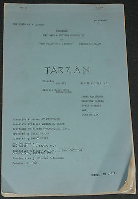 Ron Ely TV's TARZAN 1967 ORIG. 60 PAGE 14x8 DIALOG & CUTTING CONTINUITY SCRIPT!