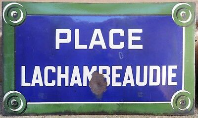 Large old French enamel street sign road name plaque Place La Chambeaudie Paris