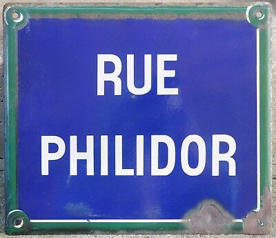 French enamel steel street sign road name plaque plate name Rue Philidor Paris