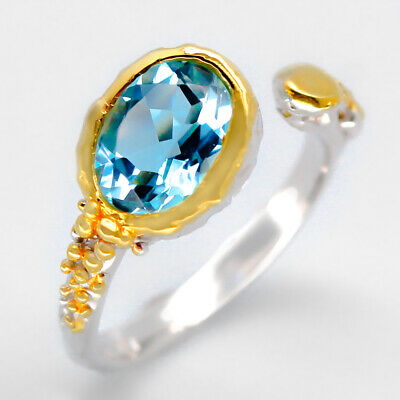 Fineart Jewelry Natural Blue Topaz 925 Sterling Silver Ring / RVS03
