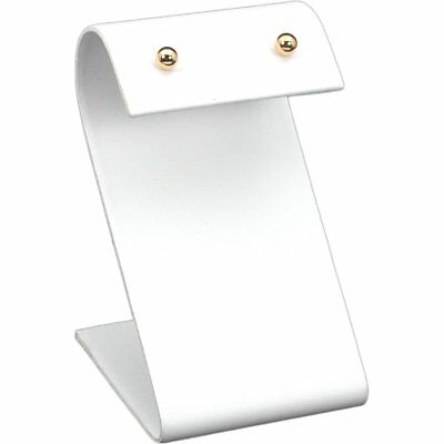 "White Faux Leather Earring Jewelry Display Stand 2"" x 3 1/4"""