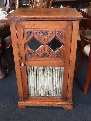 Antique 19th Century Victorian Oak Glazed Mirrored Cupboard With Shelves