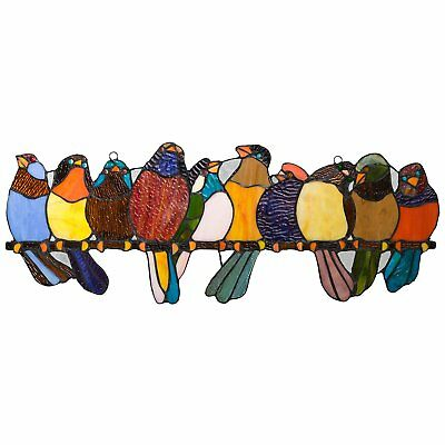 River of Goods Bird Suncatcher: Stained Glass Birds on a Wire Hanging Sun Window