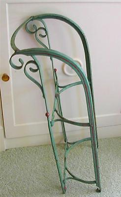 Antique Victorian Child Cast Iron Chippy Metal Red and Green Painted Winter Sled