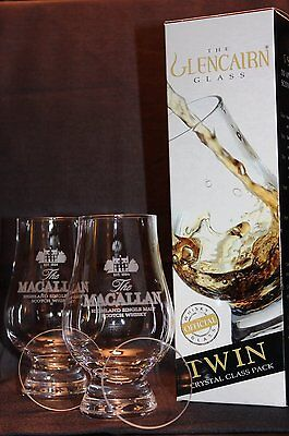 Macallan Twin Pack Glencairn Whisky Tasting Glasses W/ Two Watch Glass Covers