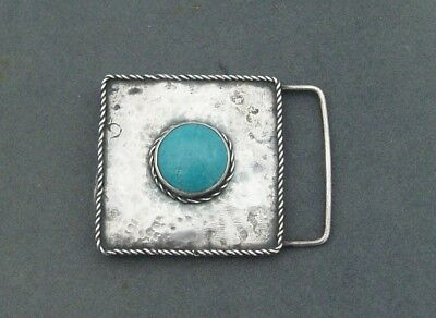 UNUSUAL ARTS & CRAFTS HAND MADE SILVER & RUSKIN CABOCHON BUCKLE c1910