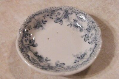 "Antique ENGLAND BUTTER PAT White & Blue Floral Design 3"" KESWICK"