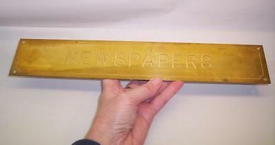 "Vintage SOLID BRASS Engraved NEWSPAPERS SIGN - 14"" x 2.5"""