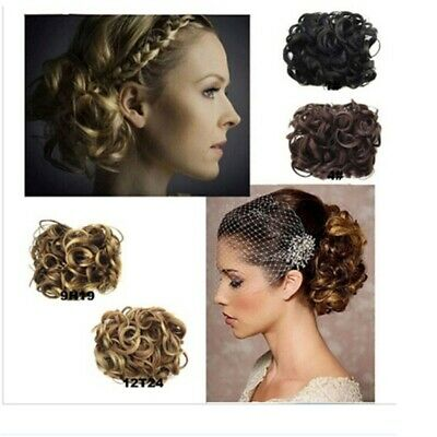 Women Wave Curly Combs Clip In Hair Bun Chignon Piece Updo Cover Extensions CB