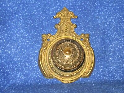 Victorian Antique Brass Door Knob & Back Plate One Sided No Mortise Locking