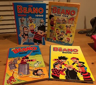 4 Excellent Beano Annuals. 1993, 1996, 1998 & 1999. Lovely Condition!