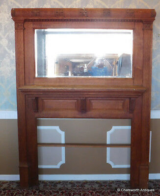 Large Antique Late Victorian Quartered Oak Mirrored Back Fireplace Mantel c1910