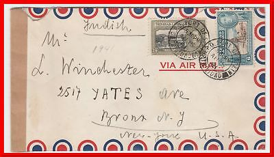 Trinidad port of Spain 1941 Passed By Postal Censor Crown cover With Letter