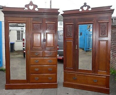 Pair Of Beautiful Edwardian Wardrobes With Key