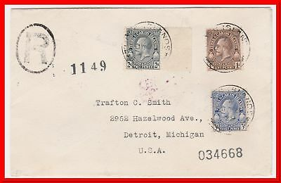 Turks & Caicos KGV 1929 Registered Tri-Franked cover to US Detroit Michigan