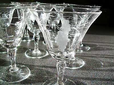 Vintage Set Of 8 Cocktail Glasses With  Etched Grape Pattern