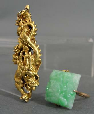 Antique Hand Crafted 14K Gold Chinese Dragon Pendant & 18K Gold Carved Jade Ring
