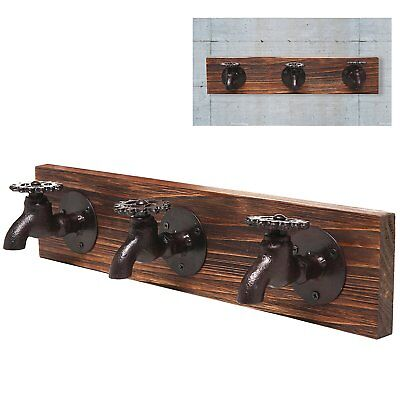 Country Rustic Old Fashion Faucet Wall Mounted Iron & Wood 3 Coat Hooks Garment,