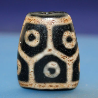 41*33*15 mm Antique Dzi  Agate old  8 eyes  Bead  from Tibet ***Free shipping***
