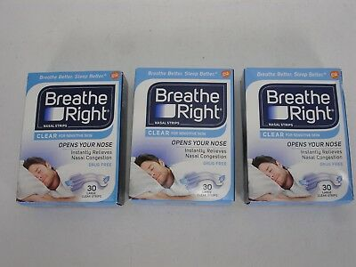 New Breath Right Nasal Strips Clear Sensitive Skin 3 Pack Of 30 Ea Large Strips