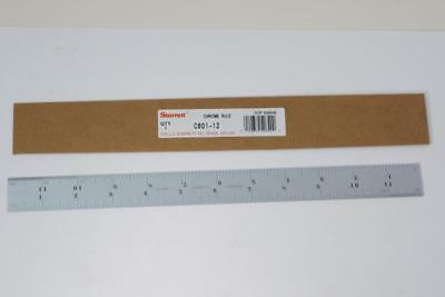 "New Starrett USA 12"" Chrome Steel Ruler 10ths, 12ths, 14ths, 16ths. C601-12  $72"
