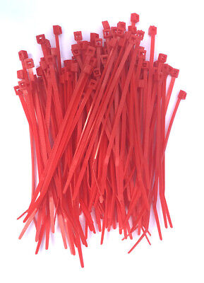 """100 4"""" Red Nylon Wire Cable Ties 18 Lbs"""