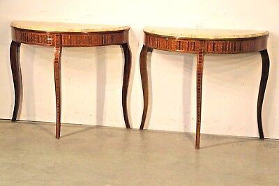 Pair Art Deco marquetry hall console tables Sienna marble tops mid century inlay