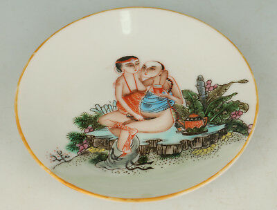 Chinese Old Porcelain Hand Painting Belle Plate Noble Gift Decoration