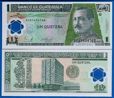 Guatemala P-109 1 Quetzal Year 12.20.2006 Uncirculated Polymer Banknote