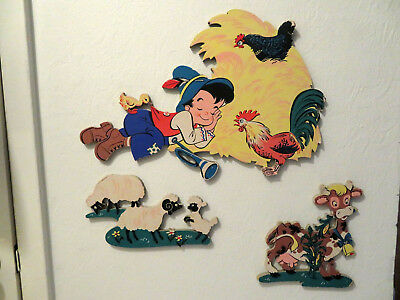 Vintage 3 pcs The Dolly Toy Co. Little Boy Blue Wall Decor Mother Goose Pin-ups